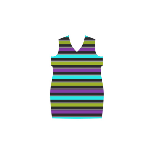 retro stripe 1 Phoebe Sleeveless V-Neck Dress (Model D09)