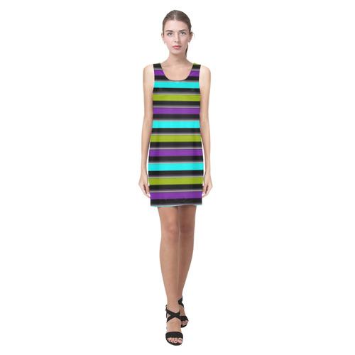 retro stripe 1 Helen Sleeveless Dress (Model D10)