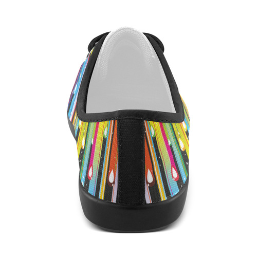 Colorful Stripes and Drops Canvas Kid's Shoes (Model 016)