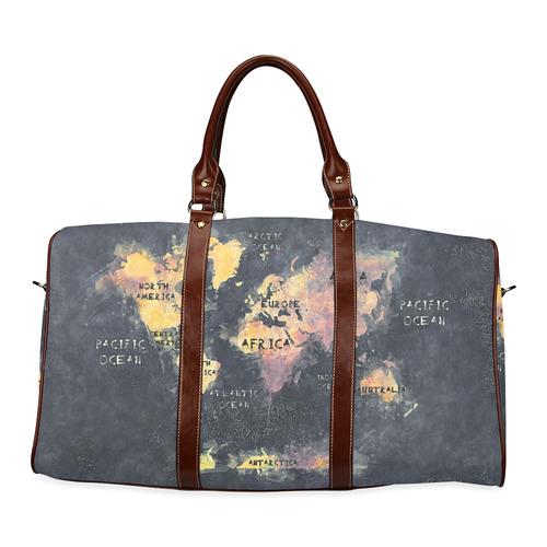 world map OCEANS and continents Waterproof Travel Bag/Small (Model 1639)