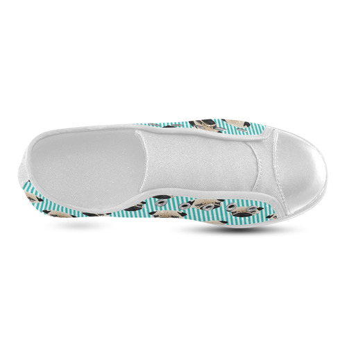 Pugs on Aqua Stripes Canvas Kid's Shoes (Model 016)