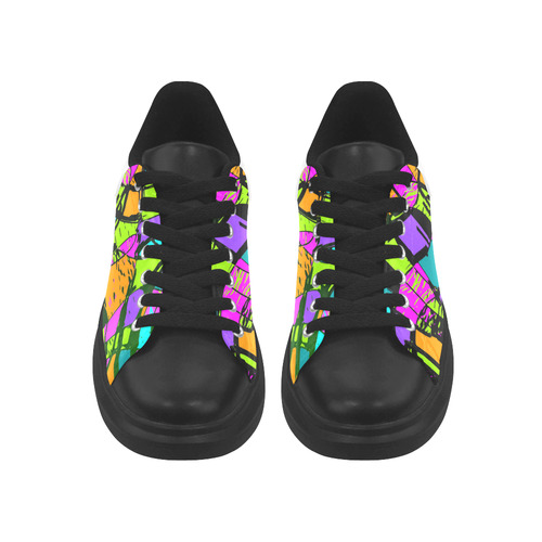 Abstract Art Squiggly Loops Multicolored Low Top Loafers Womens Shoes (Model 026)