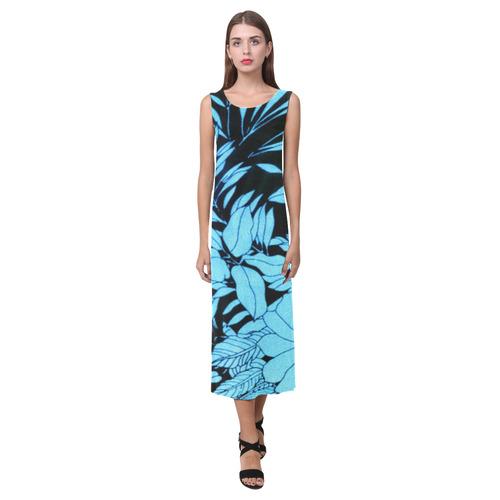 blue floral Phaedra Sleeveless Open Fork Long Dress (Model D08)