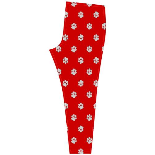 Paws white on red Cassandra Women's Leggings (Model L01)