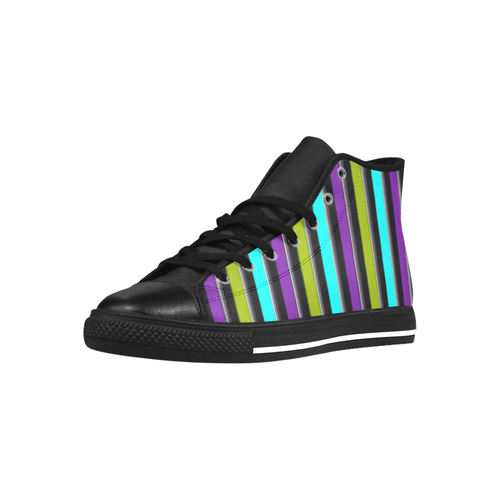 retro stripe 1 Aquila High Top Microfiber Leather Men's Shoes (Model 027)