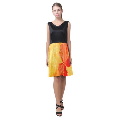 Poppy Summer Red Gold Art Design Chryseis Sleeveless Pleated Dress(Model D07)