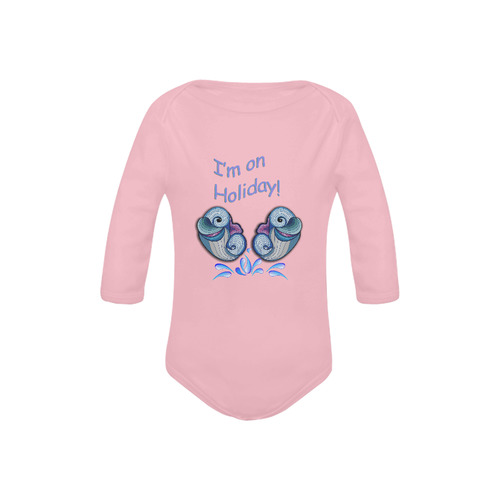 Baby dolphins on holliday Baby Powder Organic Long Sleeve One Piece (Model T27)