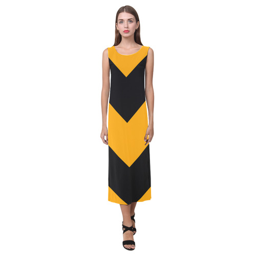 Orange Black Chevron Phaedra Sleeveless Open Fork Long Dress (Model D08)