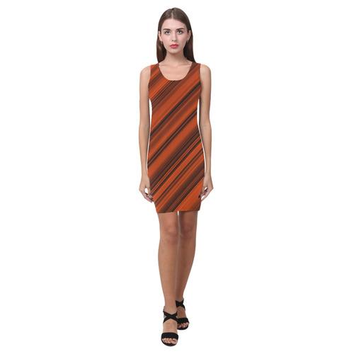 Orange Black Diagonal Stripes Medea Vest Dress (Model D06)