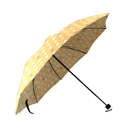 Orange With Green Dots Pattern Foldable Umbrella