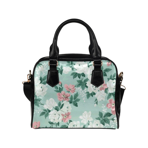 Vintage Pink Aqua Floral Wallpaper Pattern Shoulder Handbag (Model 1634)