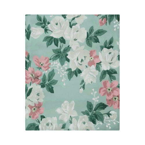 "Vintage Pink White Teal Floral Wallpaper Pattern Duvet Cover 86""x70"" ( All-over-print)"