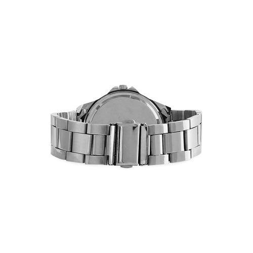 Purple ASL I Love You Unisex Stainless Steel Watch(Model 103)