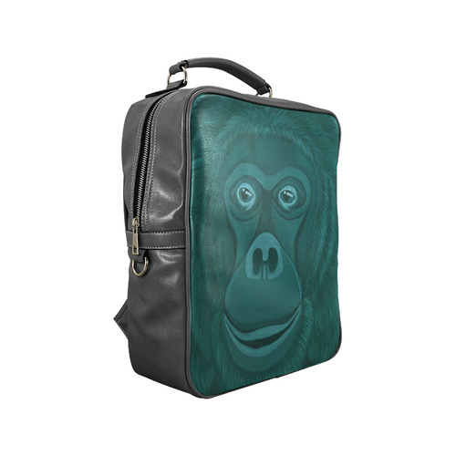 Forest Green Orangutan Square Backpack (Model 1618)