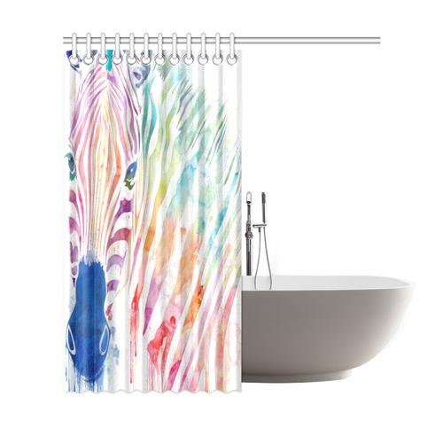 "rainbow zebra Shower Curtain 69""x72"""