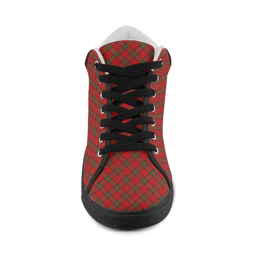 Red Tartan Plaid Pattern Men's Chukka Canvas Shoes (Model 003)