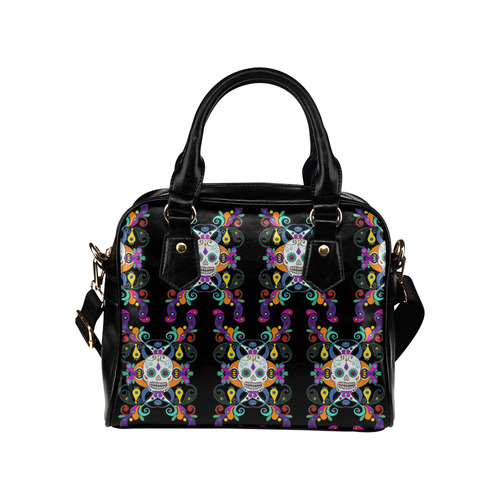 Día De Los Muertos Skulls Ornaments multicolored Shoulder Handbag (Model 1634)
