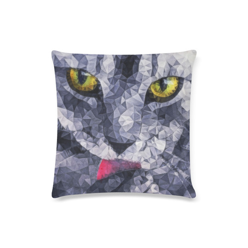 "cat tongue Custom Zippered Pillow Case 16""x16""(Twin Sides)"