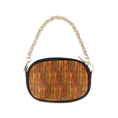 Abstract Strands of Fall Colors - Brown, Orange Chain Purse (Model 1626)