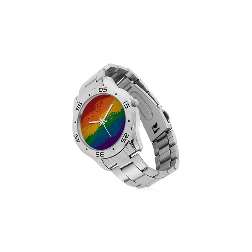 Ornamental Rainbow Flag Men's Stainless Steel Analog Watch(Model 108)