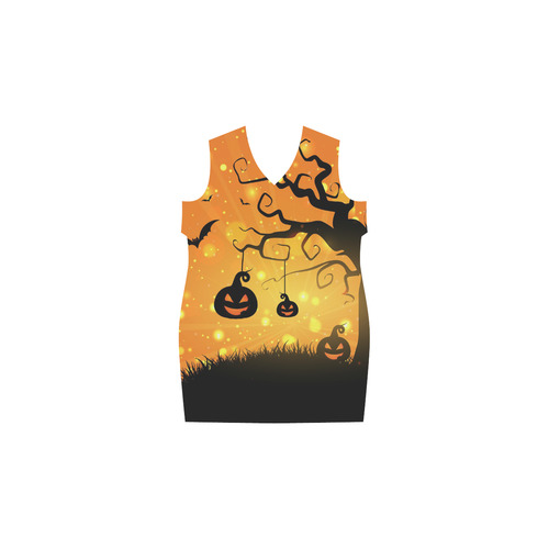 Cute Halloween Pumpkins Evil Black Bats Phoebe Sleeveless V-Neck Dress (Model D09)