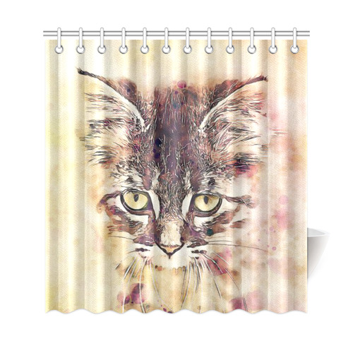 Watercolor Cat Shower Curtain ...