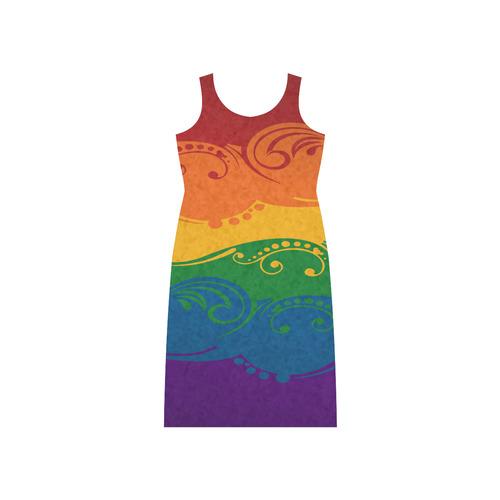 Ornamental Rainbow Flag Phaedra Sleeveless Open Fork Long Dress (Model D08)