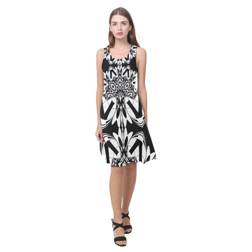 Half black and white Mandala Atalanta Casual Sundress(Model D04)