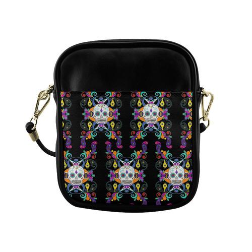 Día De Los Muertos Skulls Ornaments multicolored Sling Bag (Model 1627)
