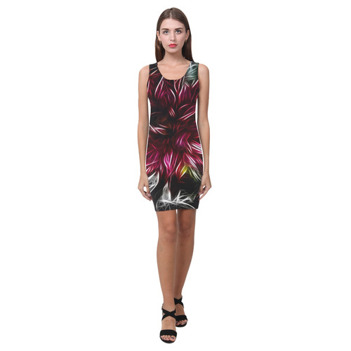 Brilliant Fractal Flower Of Light Medea Vest Dress (Model D06)