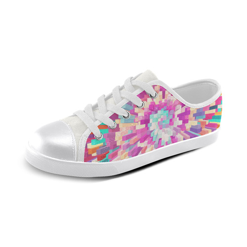 Colorful Exploding Blocks Canvas Kid's Shoes (Model 016)