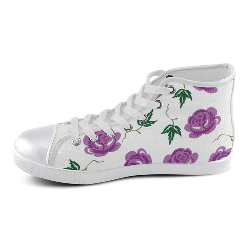 Pretty Floral Women's High Top Canvas Shoes (Model 002)