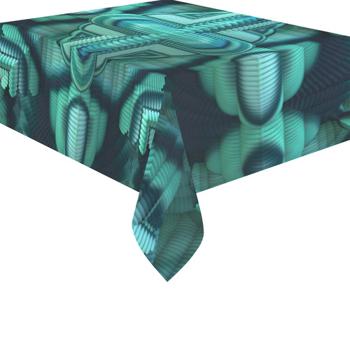 "Cool Mint Cotton Linen Tablecloth 52""x 70"""