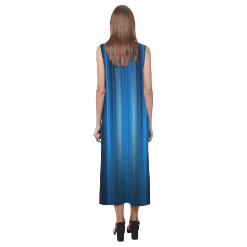 Brillant Blue Black Vertical Stripes Phaedra Sleeveless Open Fork Long Dress (Model D08)