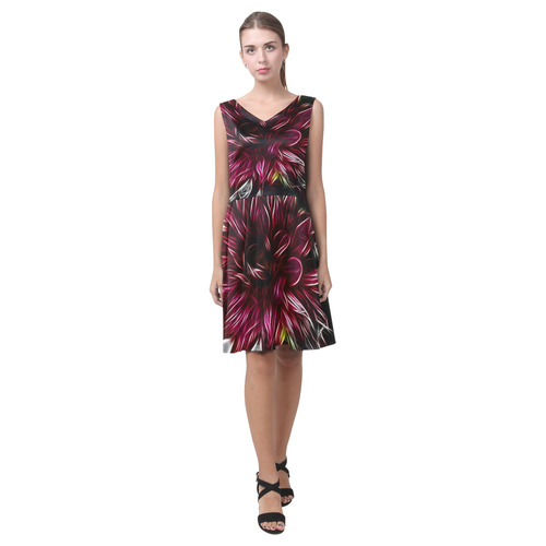 Brilliant Fractal Flower Of Light Chryseis Sleeveless Pleated Dress(Model D07)