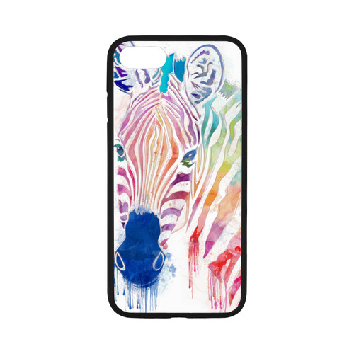 watercolor rainbow zebra Rubber Case for iPhone 7 4.7""