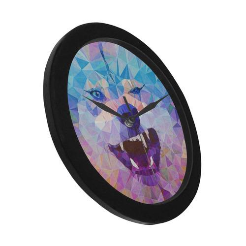 abstract wolf Circular Plastic Wall clock