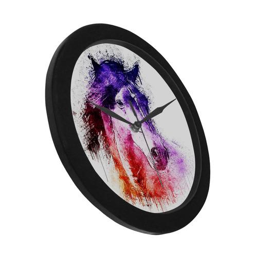 watercolor horse Circular Plastic Wall clock