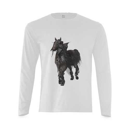 A dark horse in a knight armor Sunny Men's T-shirt (long-sleeve) (Model T08)
