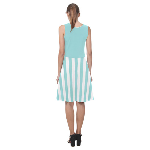 Blue and White, Stripes and Unicolored Atalanta Casual Sundress(Model D04)
