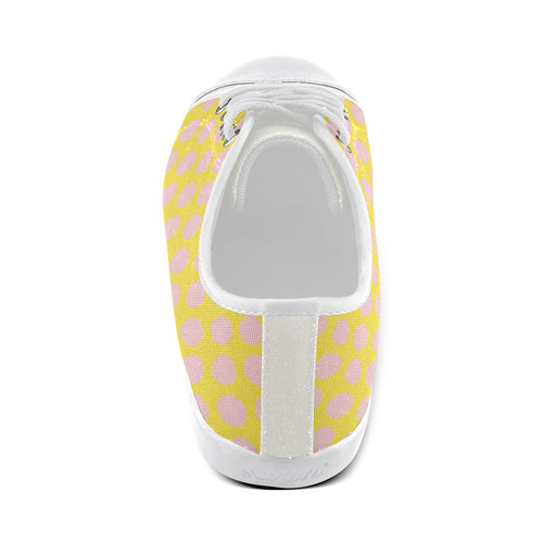 Rose Dots on Yellow Women's Canvas Shoes (Model 016)