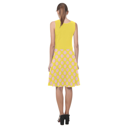 Rose Polka Dots on Yellow Atalanta Casual Sundress(Model D04)
