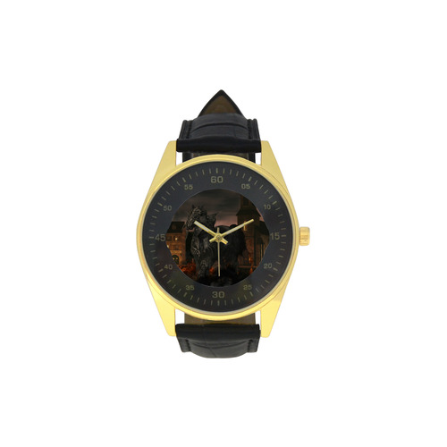 A dark horse in a knight armor Men's Golden Leather Strap Watch(Model 210)