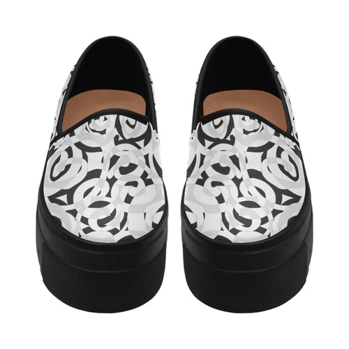 Black White Grey SPIRALS pattern ART Selene Deep Mouth Women Shoes (Model 311)