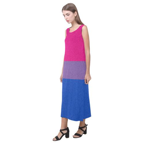 Bisexual Pride Flag Phaedra Sleeveless Open Fork Long Dress (Model D08)