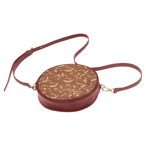 Chocolate Brown Sienna Abstract Round Sling Bag (Model 1647)