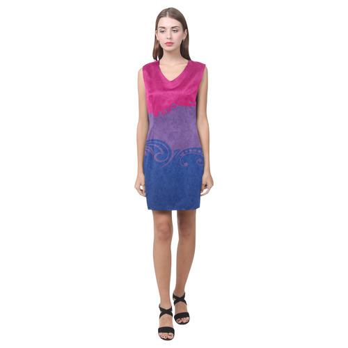 Bisexual Ornamental Flag Phoebe Sleeveless V-Neck Dress (Model D09)