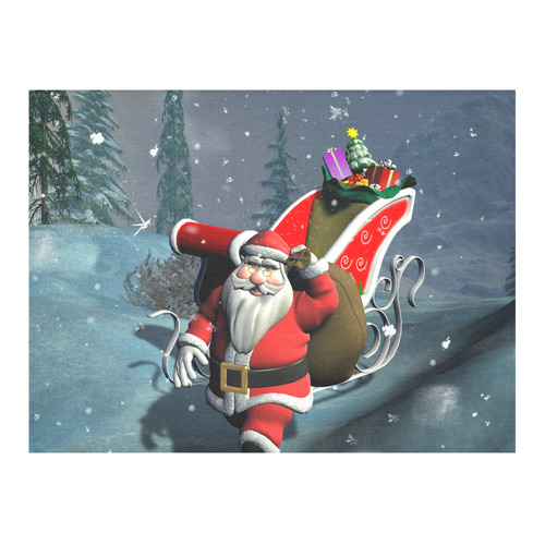 """Christmas, Santa Claus Cotton Linen Tablecloth 52""""x 70"""""""