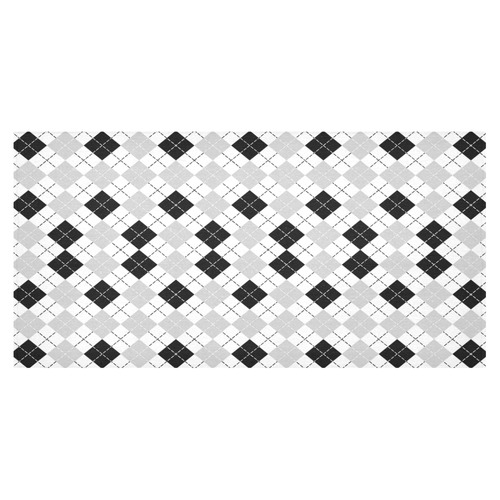 "Black White and Grey Argyle Tablecloth Cotton Linen Tablecloth 60""x120"""