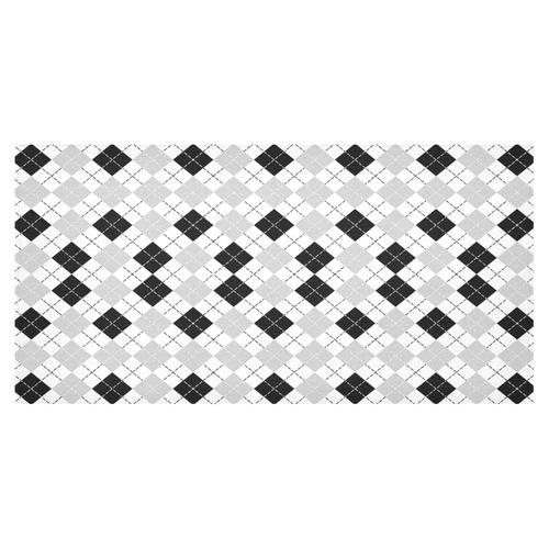 """Black White and Grey Argyle Tablecloth Cotton Linen Tablecloth 60""""x120"""""""